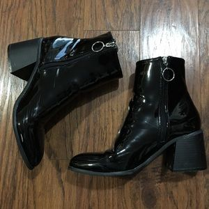 Forever 21 Pointed Toe Black Faux Leather Bootie